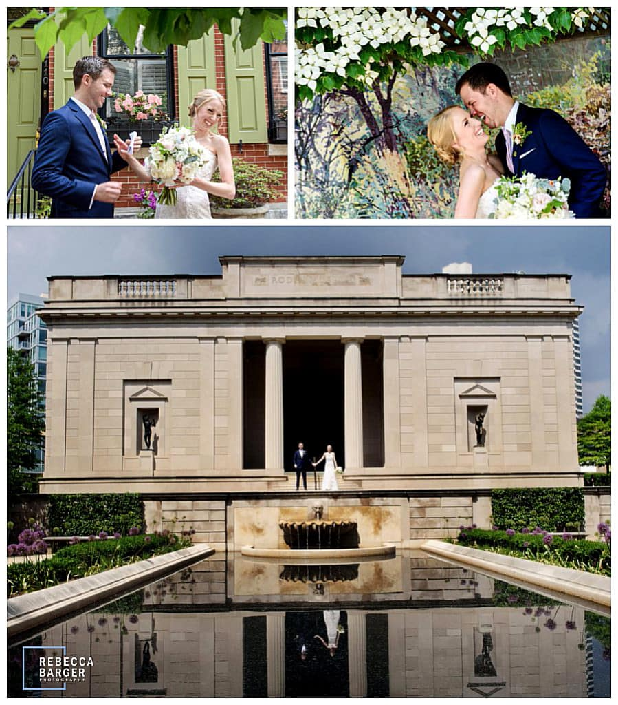 Outside the Rodin, Phila., for wedding photos in the spring.