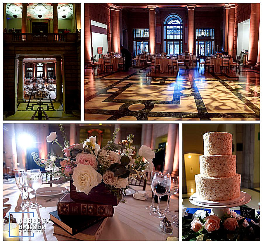 Those glorious marble floors with some lighting, a dramatic venue for Lauren & James wedding reception, Brûlée Catering.