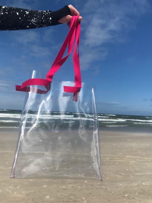 plastikowa przeżroczysta torba z różowymi uszami