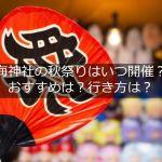 【2020年】海神社の秋祭りの日程は?どんなお祭り?行き方は?