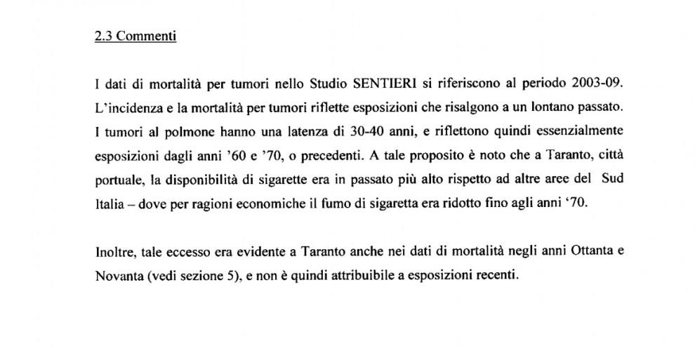 Un passaggio della relazione del commissario dell'Ilva Bondi inviata alla Regione Puglia