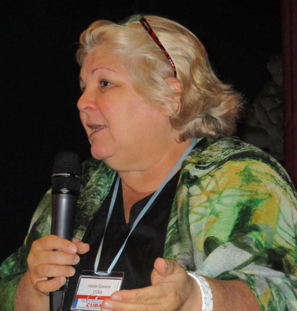 Алейда по време на интервюто в Стокхолм