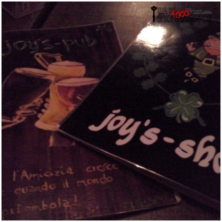menu del Joyce Irish Pub Bari