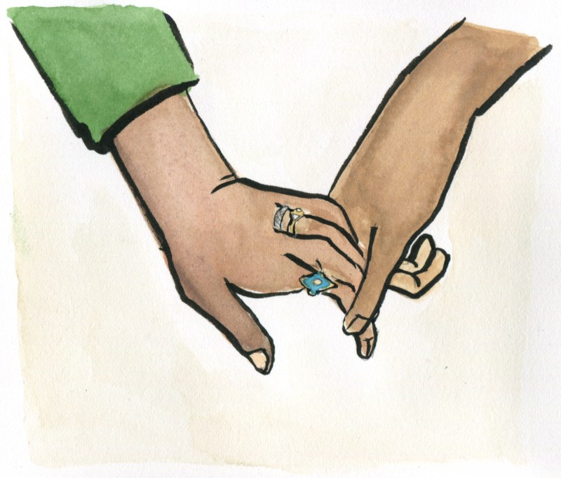 Illustration of Interracial Couple Holding Hands