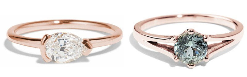 Collage of rose gold rings under $2,000