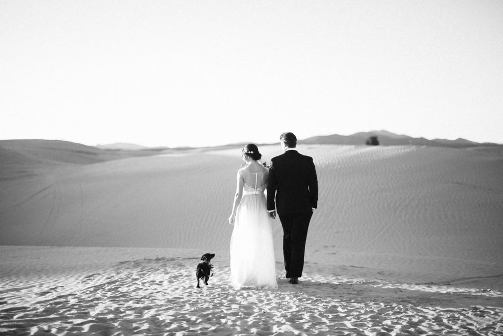 bride and groom walking dachshund