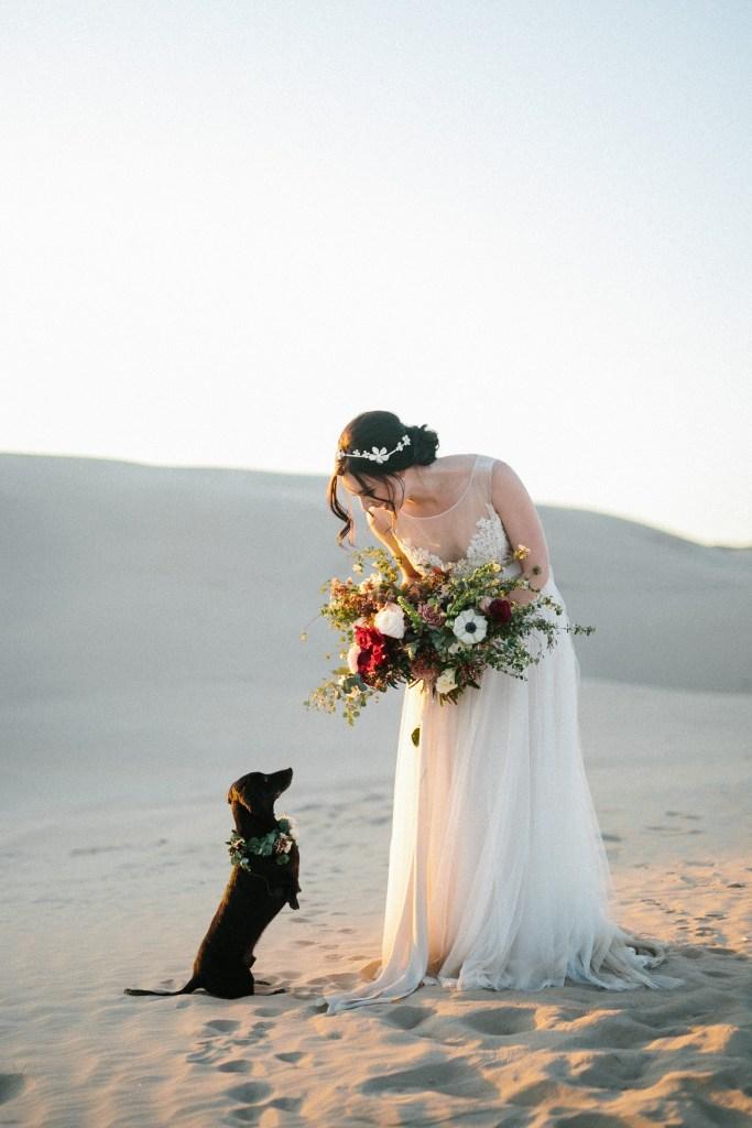 bride with dachshund