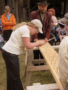 Barkerville Ladies' Nail Pounding - photo by James Douglas