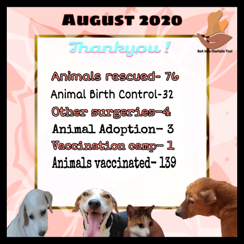 Animal rescue, treatment and welfare- August 2020