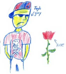 Tough guy and a red rose