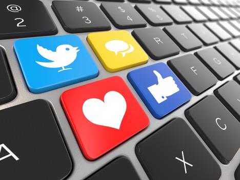 computer keyboard with social symbols