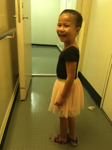 Getting ready for her dance performance