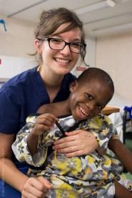 Ward nurse Hannah Peters with Jules on D Ward.