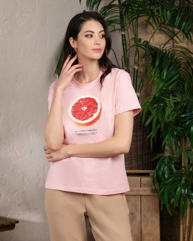 Футболка женская  «Грейпфрут» розовая