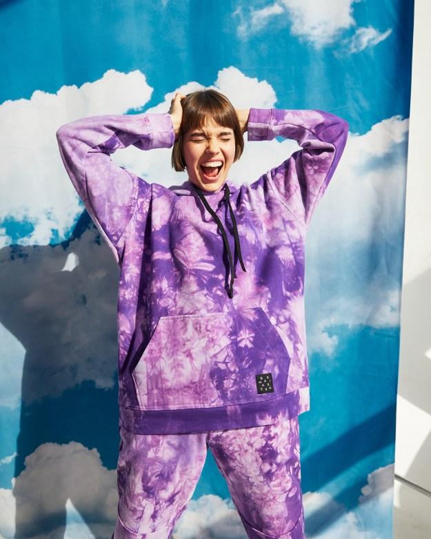 Худи женское «Тай Дай» фиолетовое