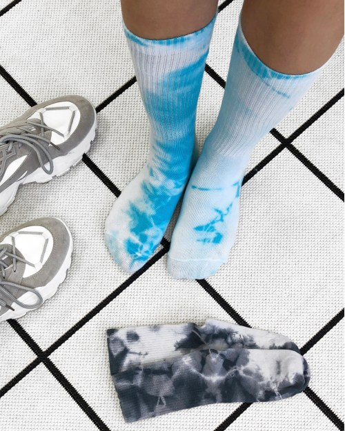 Комплект носков «Тай Дай» 2 пары бирюзовые и графитовые