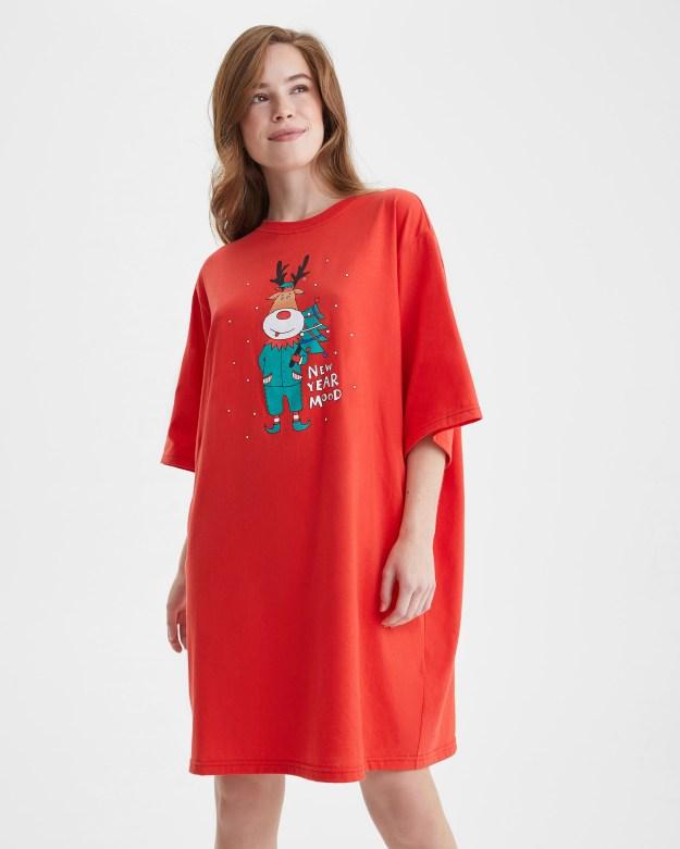Платье-футболка «Олень и Елка»