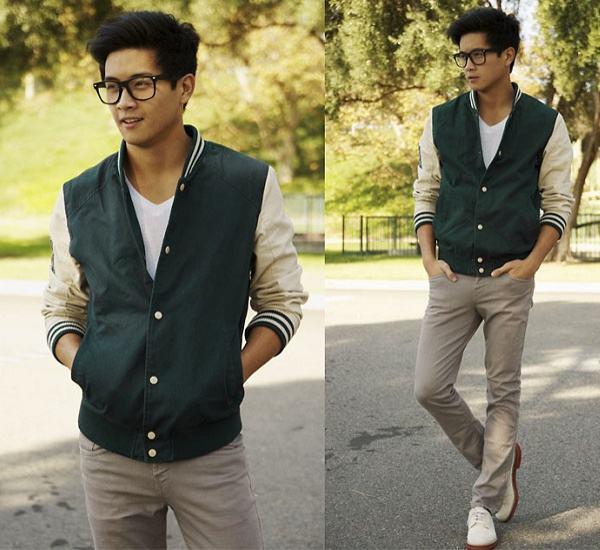 jaqueta college verde masculina