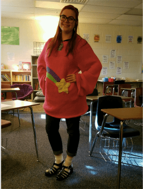 Yes I'm aware that she wears a skirt! you couldn't really see mine cause my sweater is too long sorry.