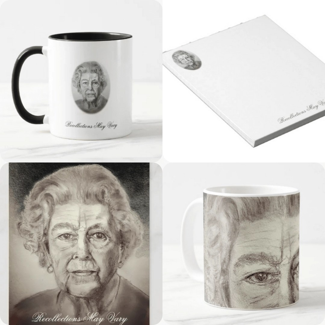 Her Majesty The Queen Portrait Charcoal Art Barnaby Studio by Jessica Barnaby Gifts, Barnaby Studio, Jessica Barnaby