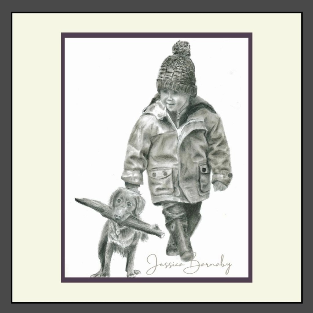Little Boy and Dog Portrait, Charcoal, Barnaby Studio by Jessica Barnaby