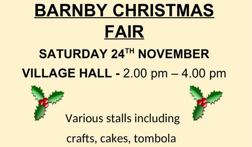 Christmas Fair at the Village Hall – Sat 24th Nov, 2-4pm