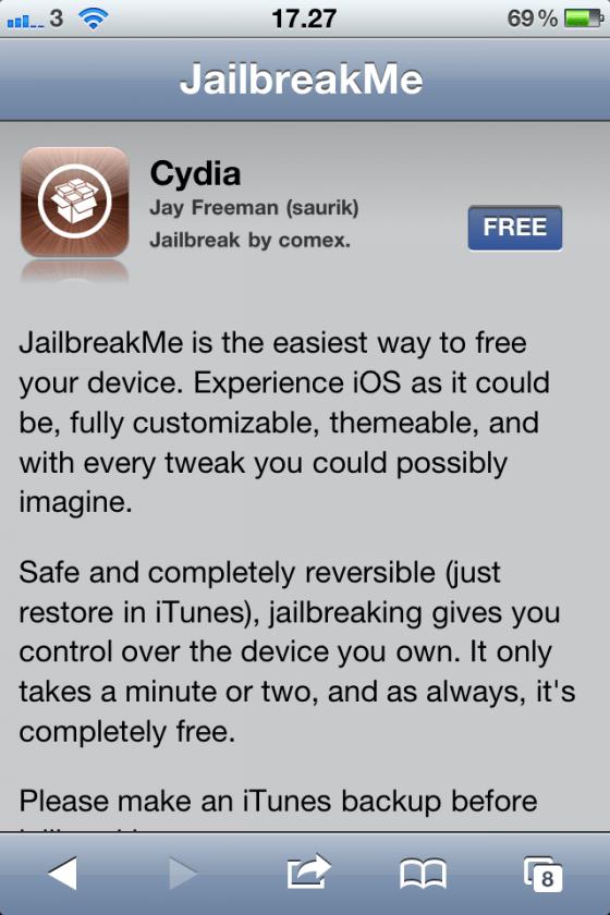 Cydia jailbreakme.com
