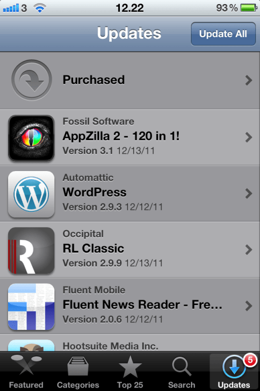opdater apps i app store