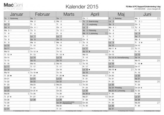 download gratis kalender år 2015 6 måneders oversigt til print