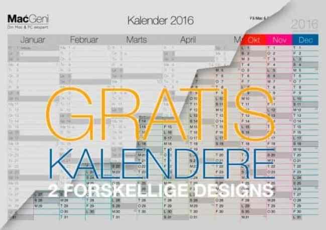 gratis kalender 2016 år download - 2 sider 6 måneders oversigt til print selv a4 a3
