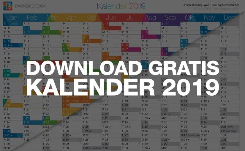 Download Gratis Kalender 2019 pdf – Print selv A4 og A3 format