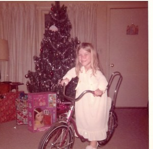 Susie and her bike Christmas 1971