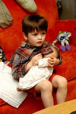 nick breastfeeding his baby doll - _MG_8930