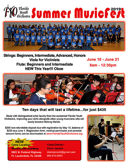 Florida Youth Orchestra Summer MusicFest 2019 flyer