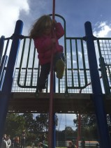 Ava's first time down the pole.