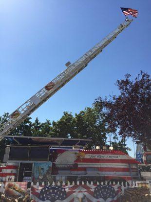 Fire engine turned burger truck. AMERICA.