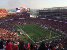 Perfect view of the cheerleaders, I mean, the game. Levi's Stadium, Santa Clara.
