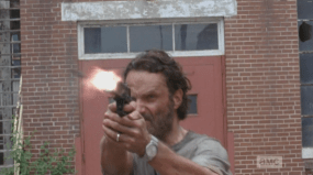 Rick Blast! stands right in the car's path, firing at it...unfortunately, the windows seem to be bulletproof, and the gang must scramble out of the way, hide behind a dumpster.