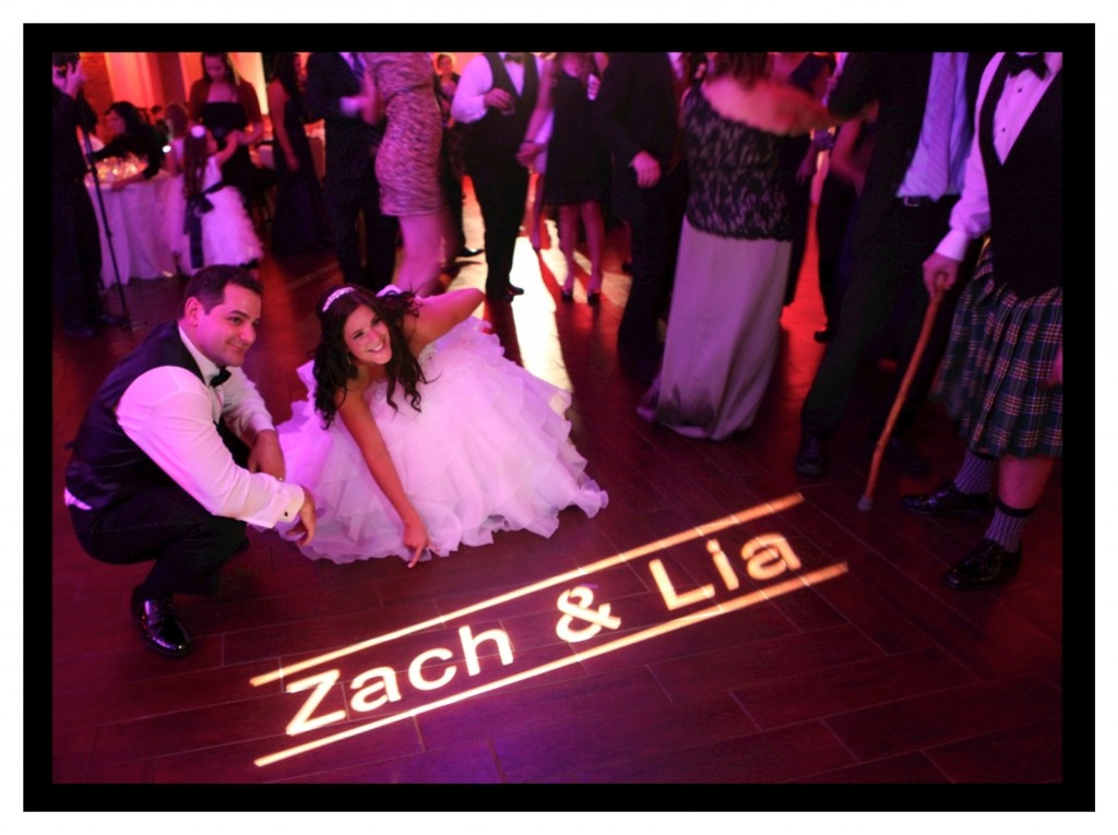 Custom GOBO projected on the floor! Once the party started it rotated on the dancefloor and ceiling.