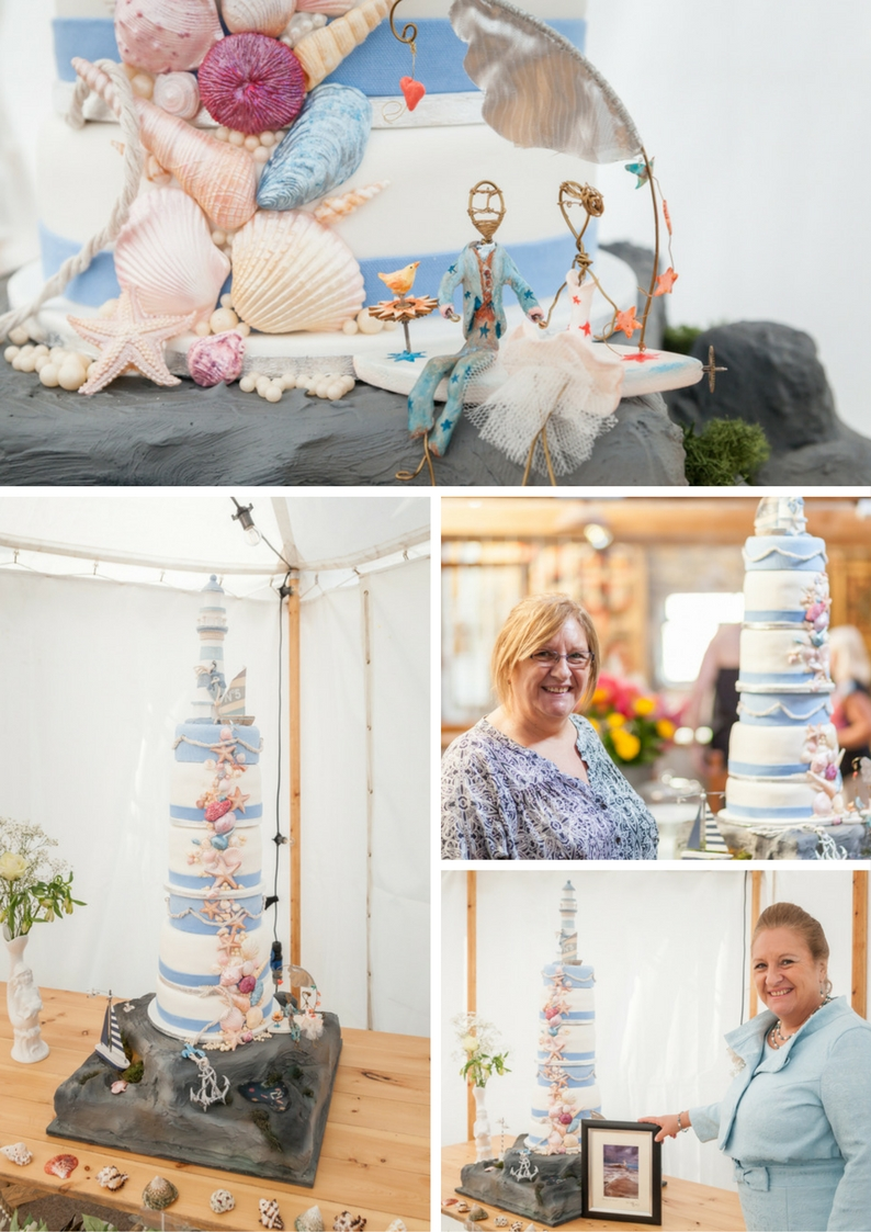 Lighthouse wedding cake for a beach wedding in Northumberland