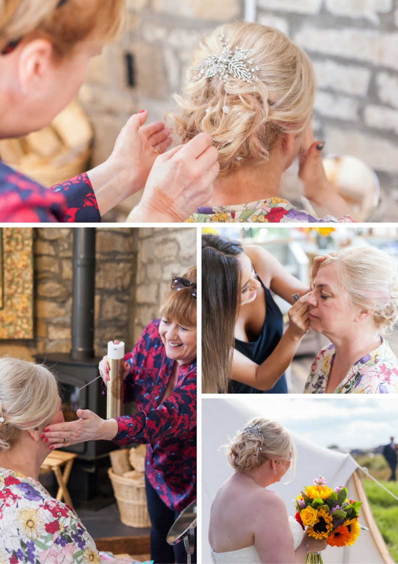 Bride getting dressed in barn and glamping bell tent for wedding