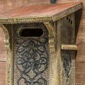 Victorian Bluebird letterbox birdhouse mounted on wood