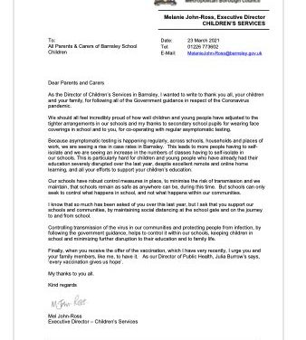 Letter from the Executive Director 0f  Children's Services