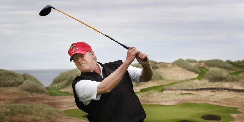 Donald Trump views developments to his luxury golf resort during a visit to the Menie estate in Aberdeenshire.