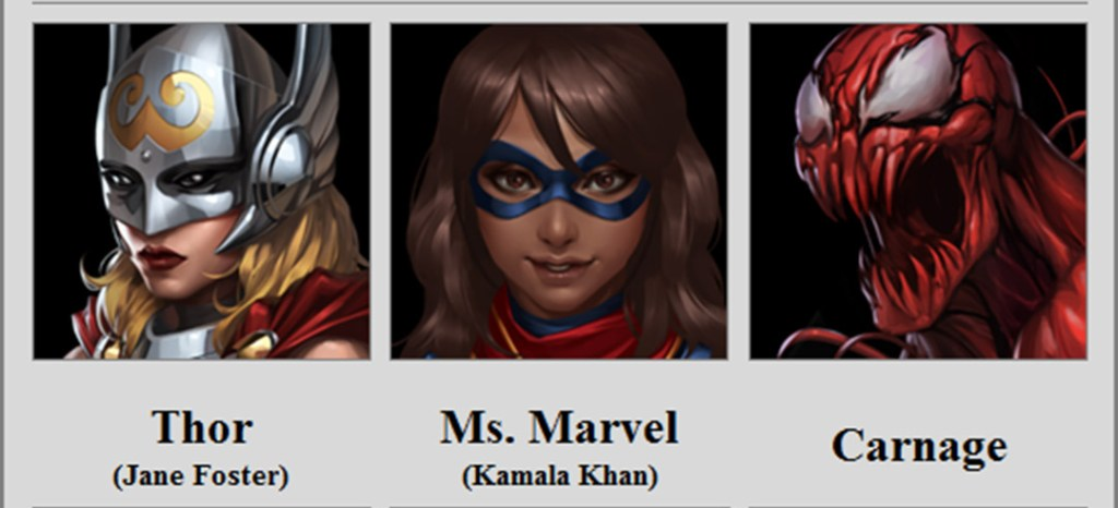 Novos Personagens Marvel Future Fight
