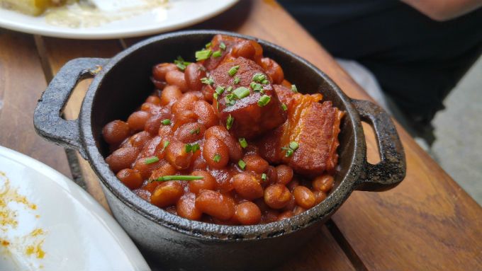 Beans with pork belly chunks