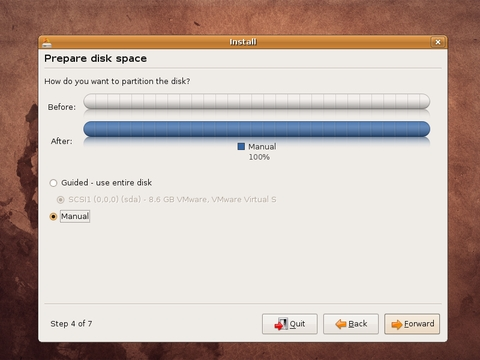 Select Manual For Manual Partition Creation.