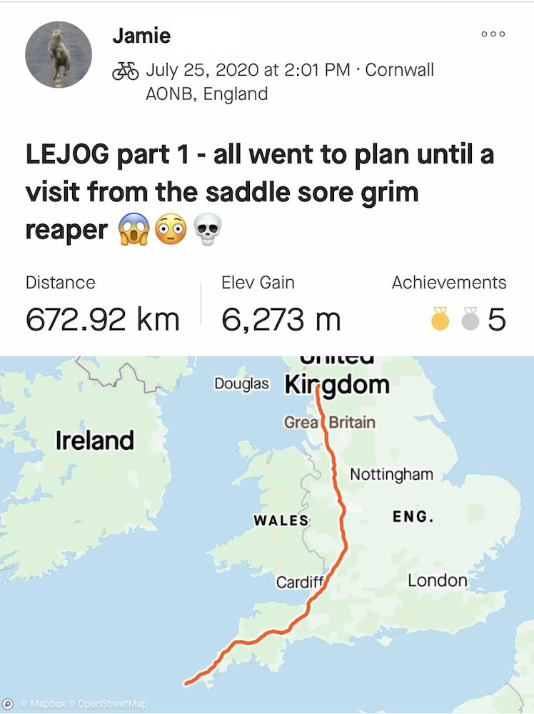 Jamie's LEJOG Day 1: 672.92km with 6,273m of elevation