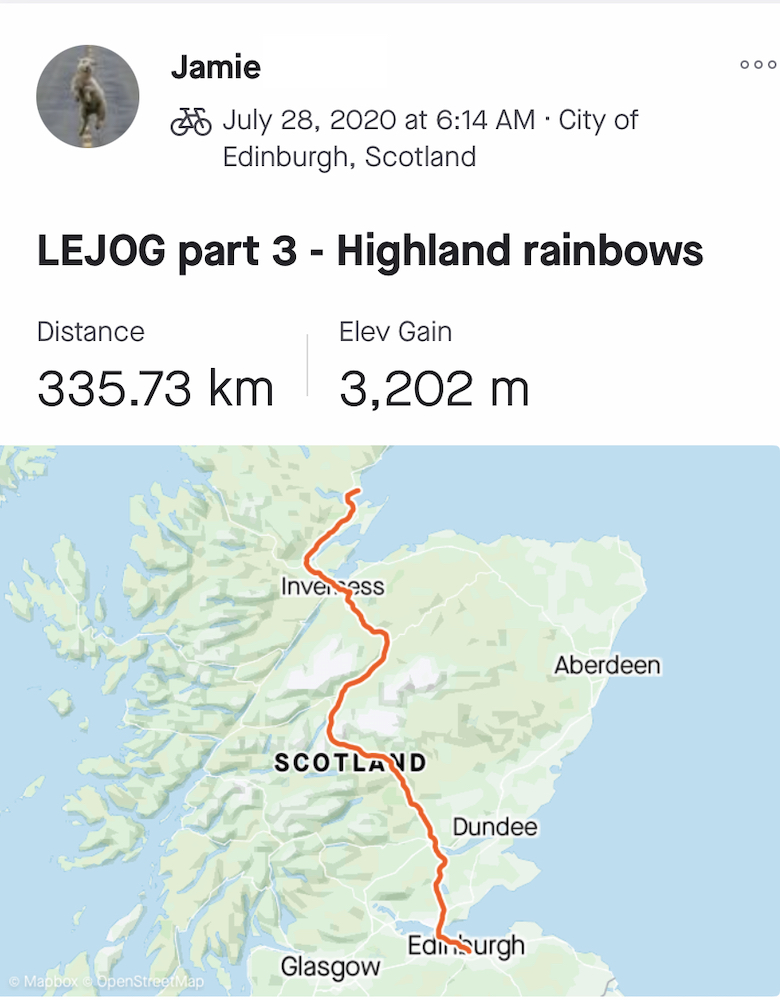"Jamie's LEJOG Day 2: ""Highland Rainbows"""