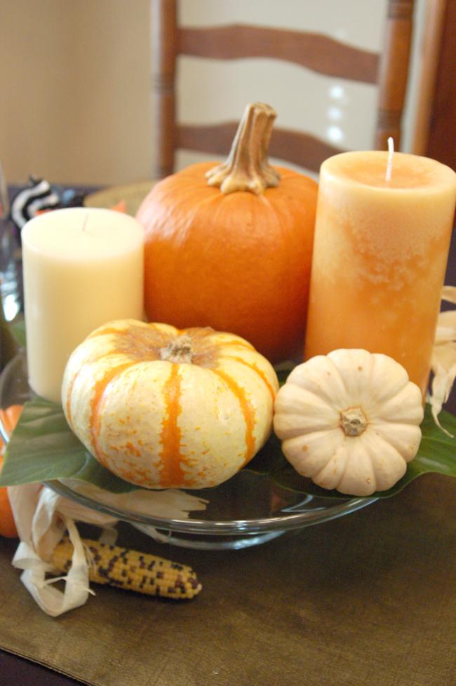 pumpkins and candles centerpiece